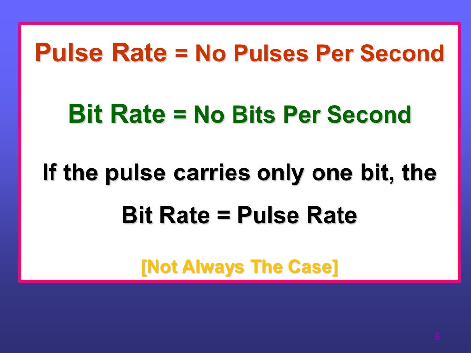 Pulse Rate = No Pulses Per Second Bit Rate = No Bits Per Second