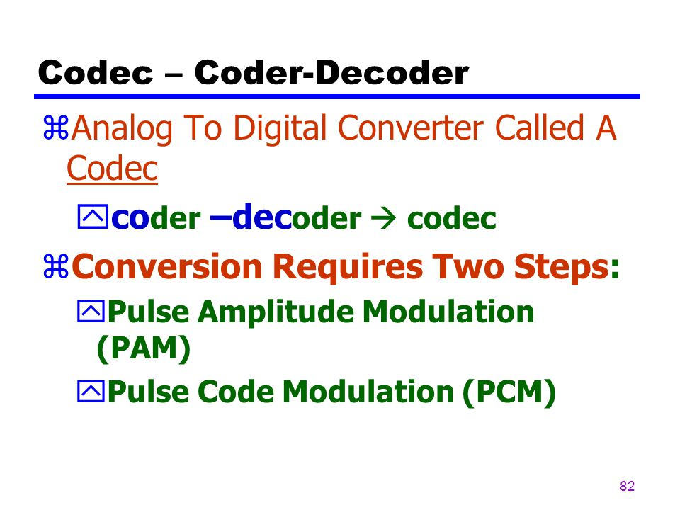 Analog To Digital Converter Called A Codec coder –decoder  codec