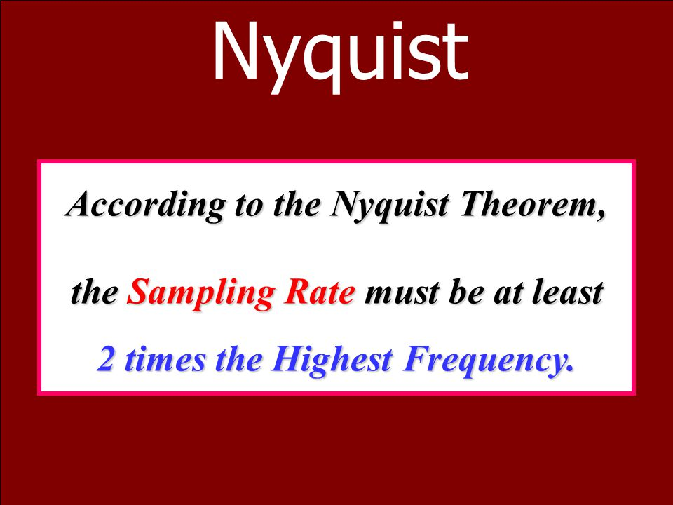 Nyquist According to the Nyquist Theorem,