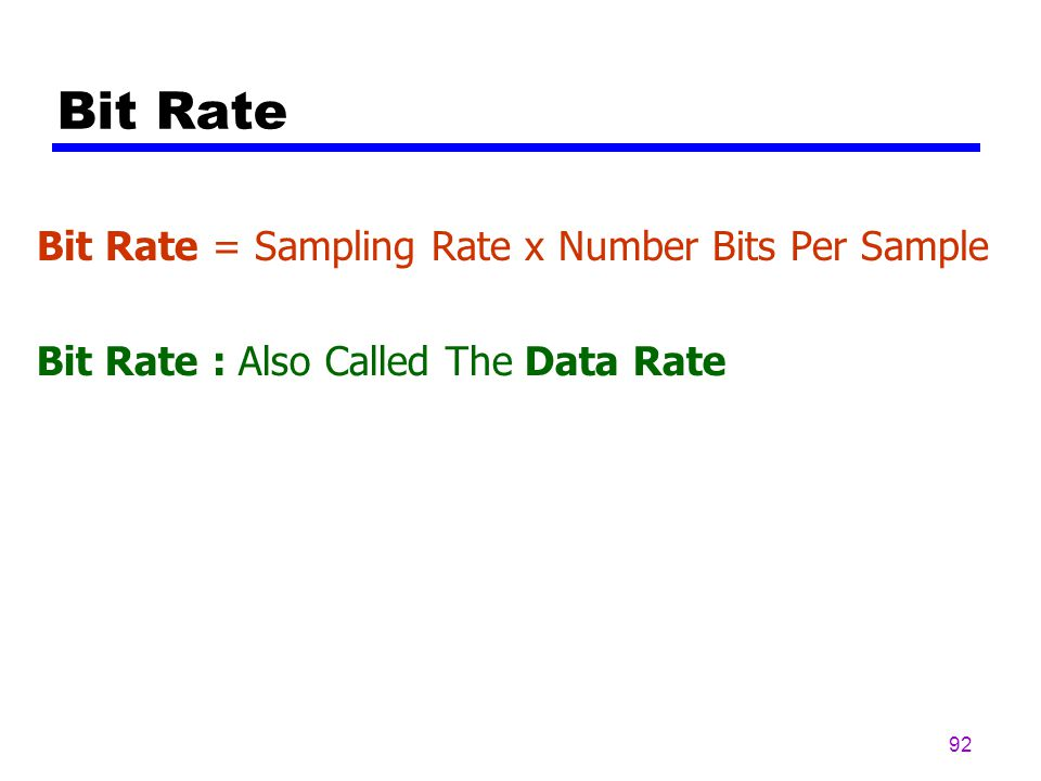 Bit Rate Bit Rate = Sampling Rate x Number Bits Per Sample