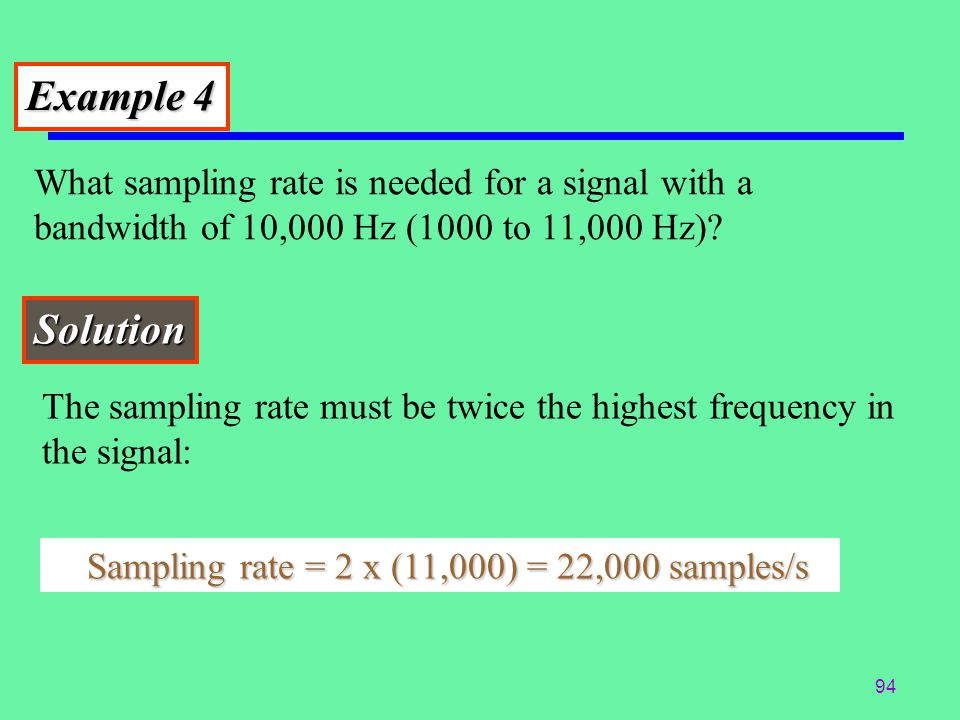 Example 4 What sampling rate is needed for a signal with a bandwidth of 10,000 Hz (1000 to 11,000 Hz)