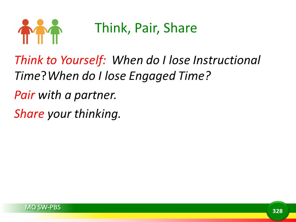 Think, Pair, Share Think to Yourself: When do I lose Instructional Time When do I lose Engaged Time Pair with a partner. Share your thinking.