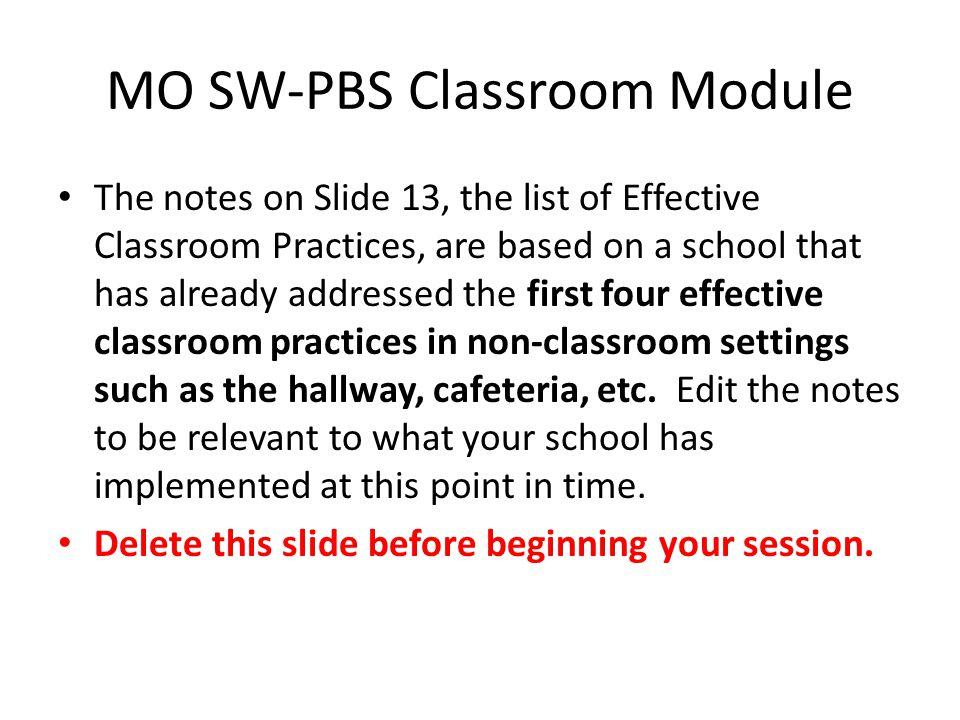 MO SW-PBS Classroom Module