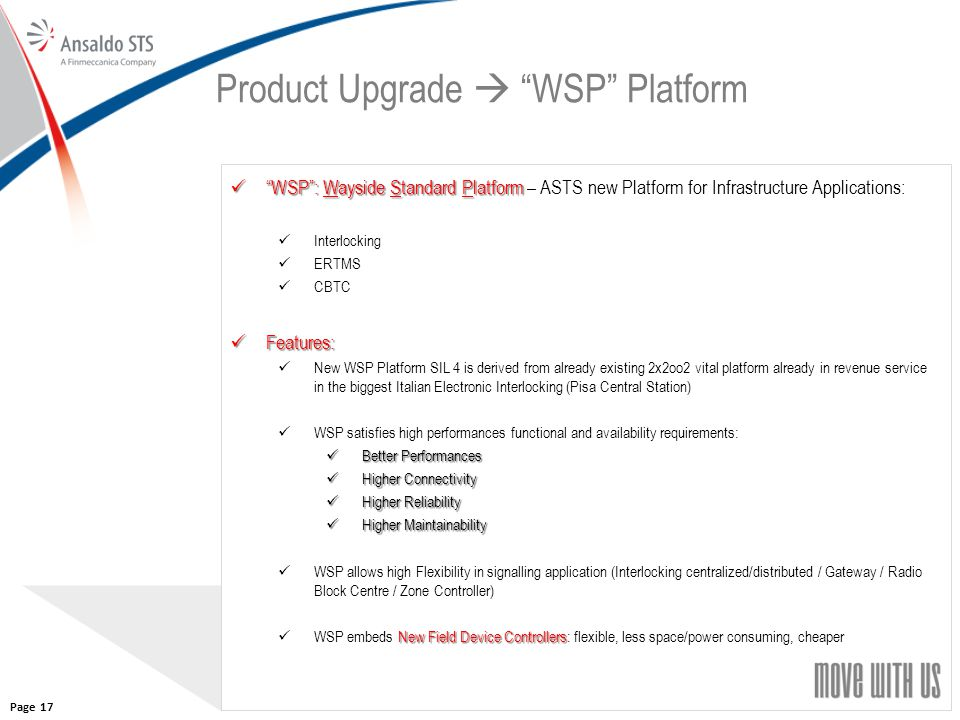Product Upgrade  WSP Platform