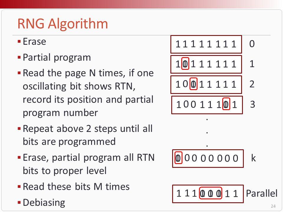 RNG Algorithm Erase Partial program
