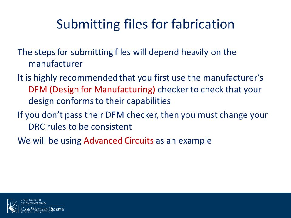 Submitting files for fabrication