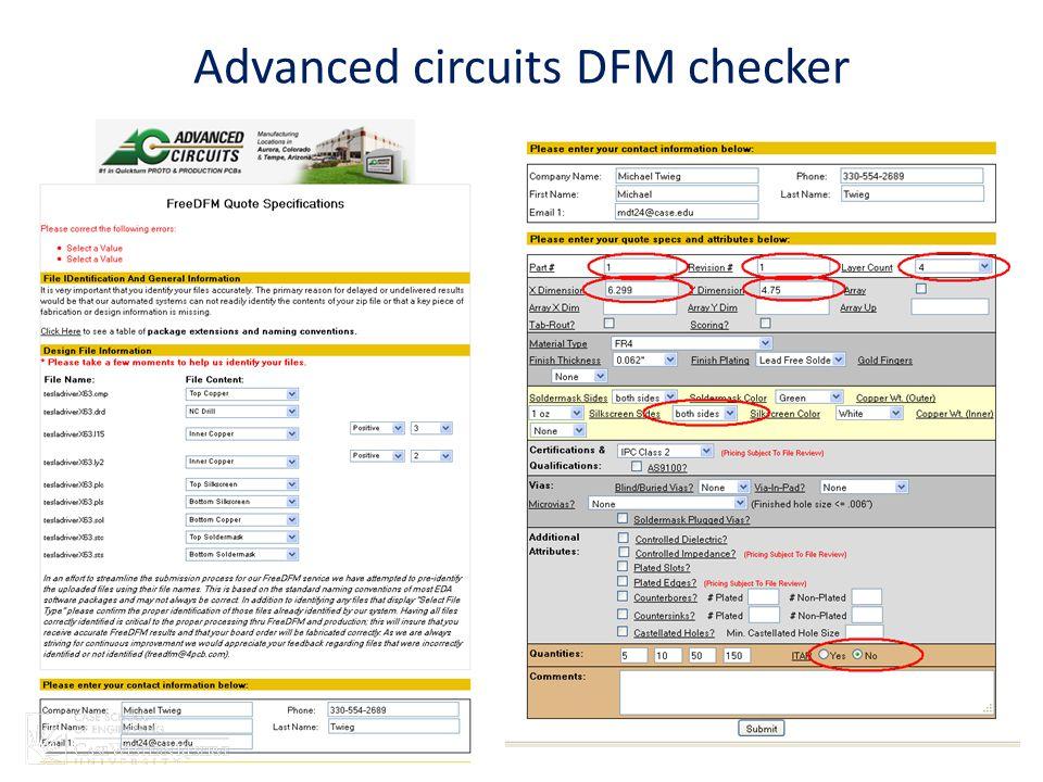 Advanced circuits DFM checker