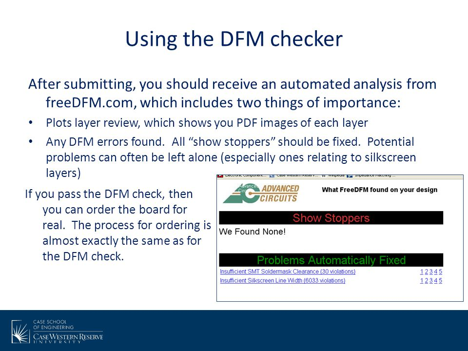 Using the DFM checker After submitting, you should receive an automated analysis from freeDFM.com, which includes two things of importance:
