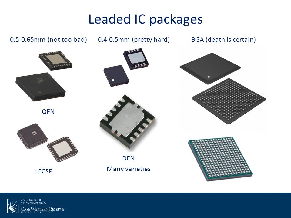 Leaded IC packages 0.5-0.65mm (not too bad) 0.4-0.5mm (pretty hard)