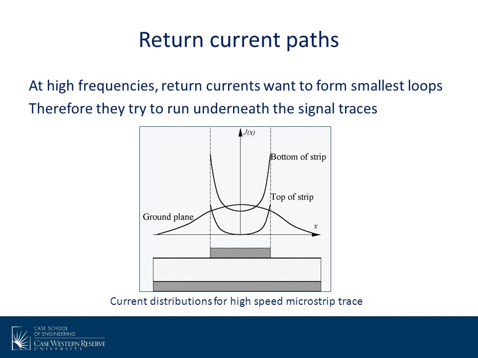 Return current paths At high frequencies, return currents want to form smallest loops Therefore they try to run underneath the signal traces