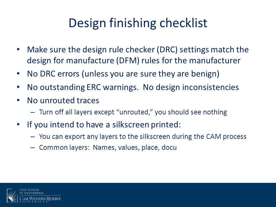 Design finishing checklist