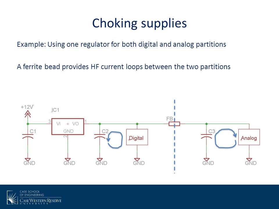 Choking supplies Example: Using one regulator for both digital and analog partitions.