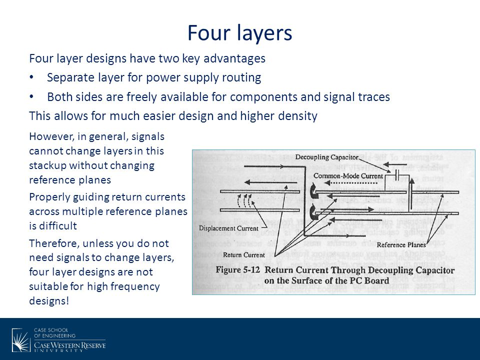 Four layers Four layer designs have two key advantages
