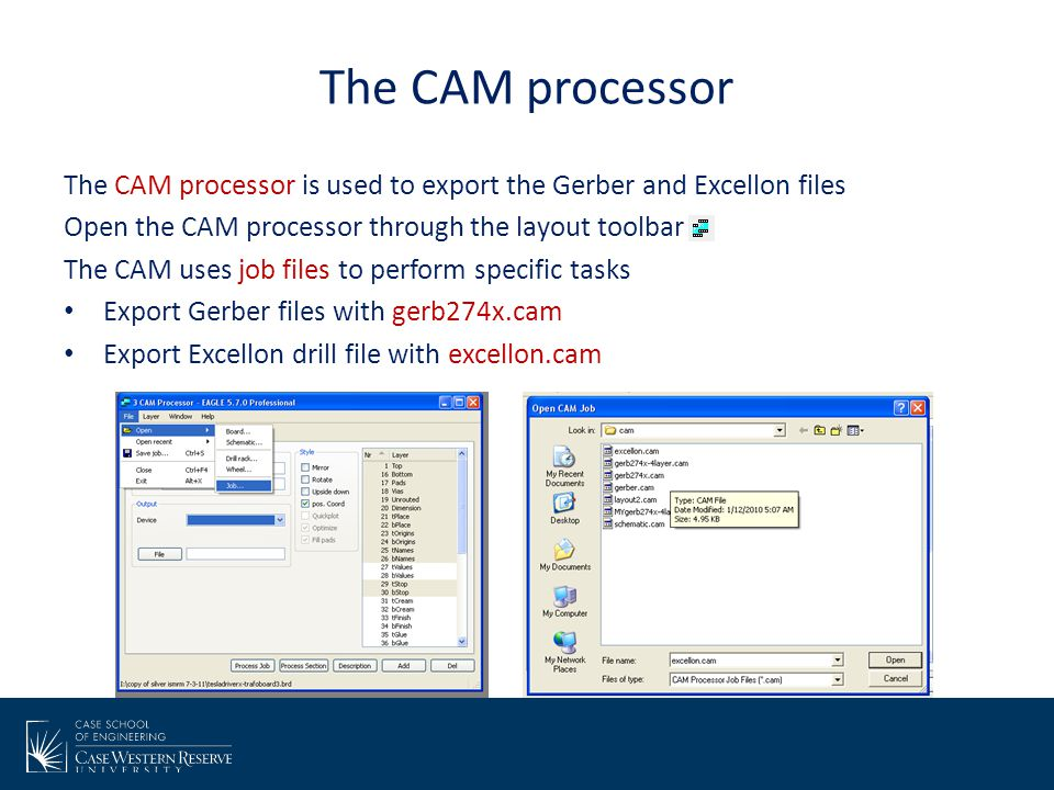 The CAM processor The CAM processor is used to export the Gerber and Excellon files. Open the CAM processor through the layout toolbar.