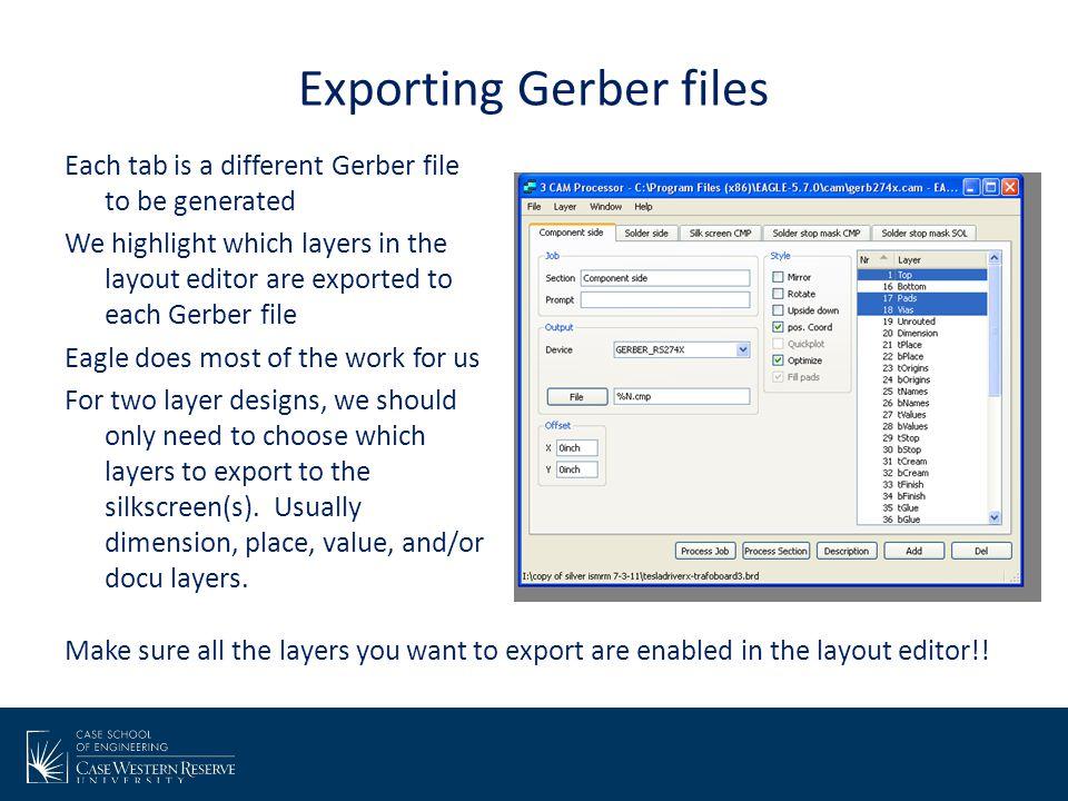 Exporting Gerber files