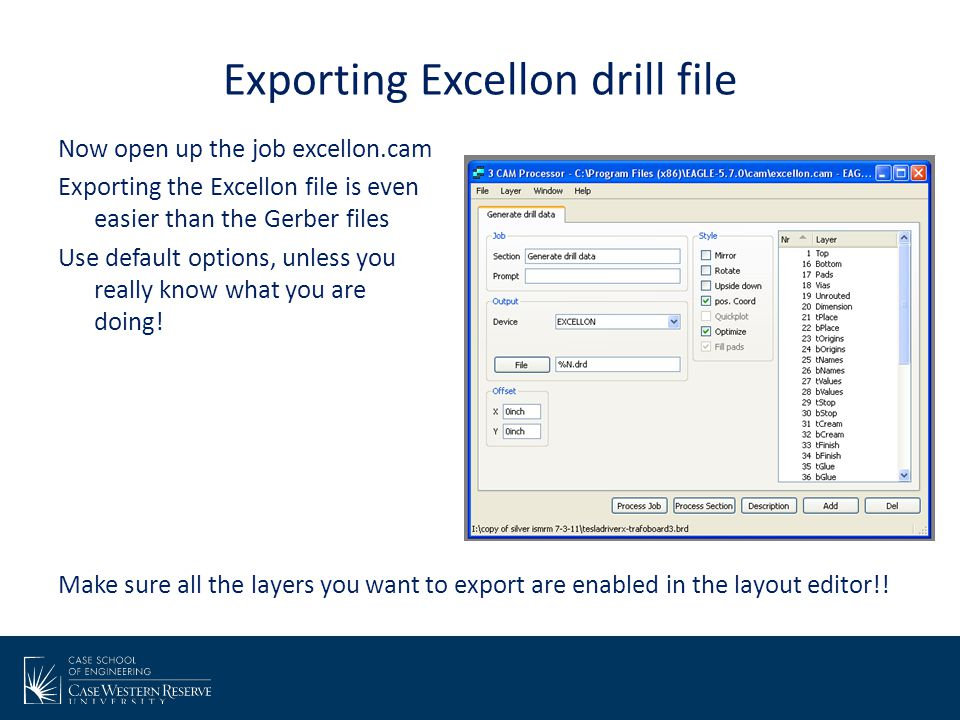 Exporting Excellon drill file