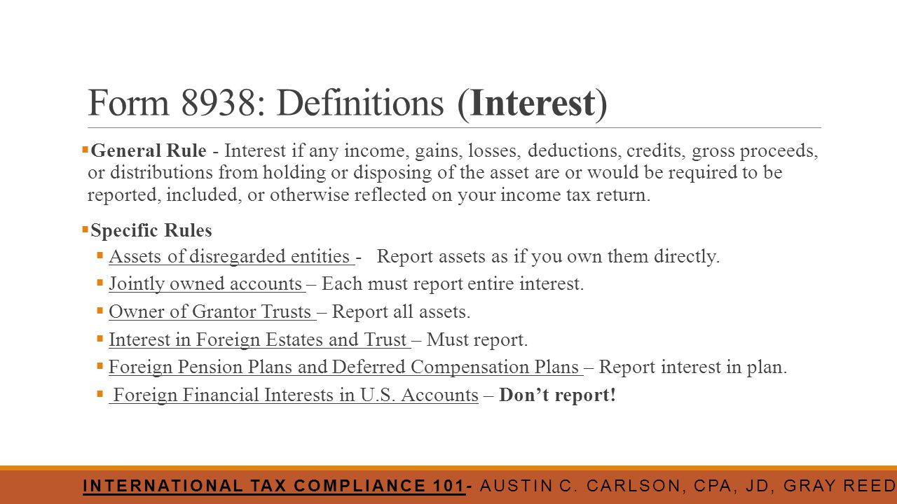 Form 8938: Definitions (Interest)