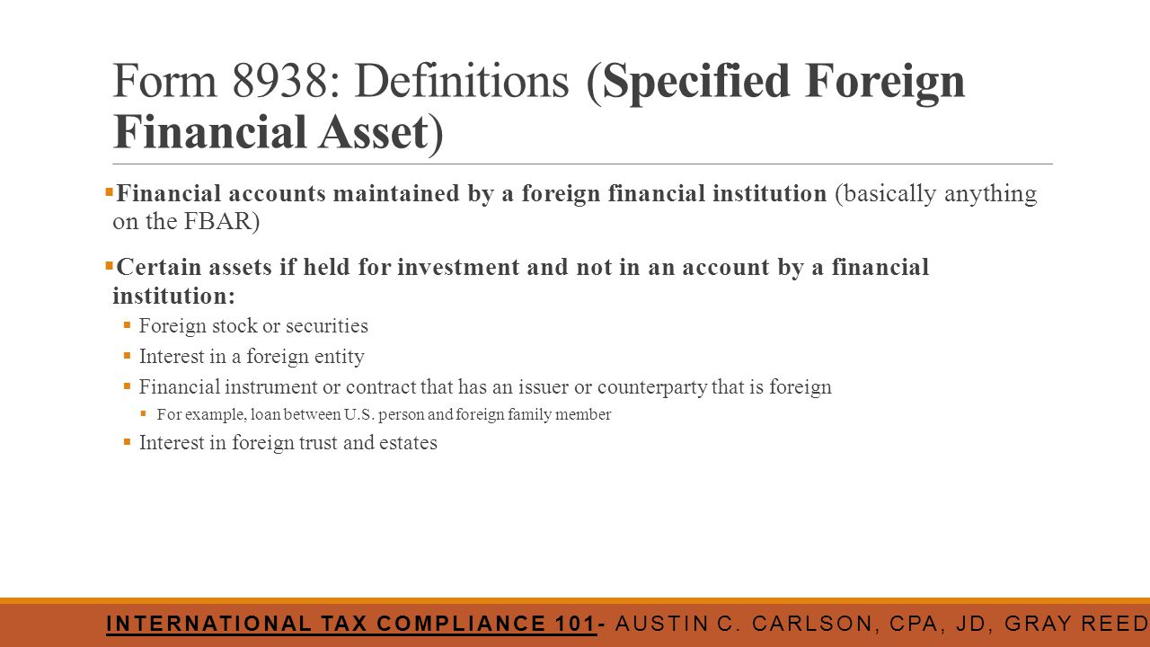 Form 8938: Definitions (Specified Foreign Financial Asset)