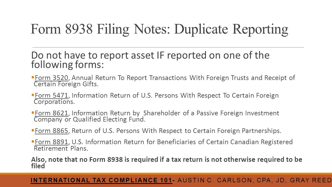Form 8938 Filing Notes: Duplicate Reporting