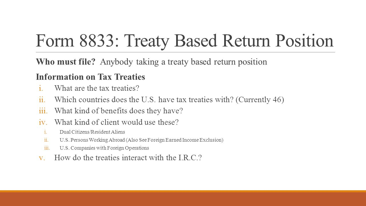 Form 8833: Treaty Based Return Position