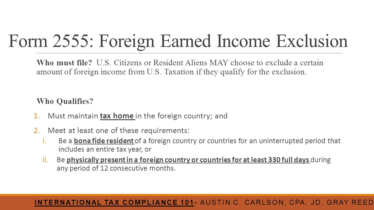 Form 2555: Foreign Earned Income Exclusion