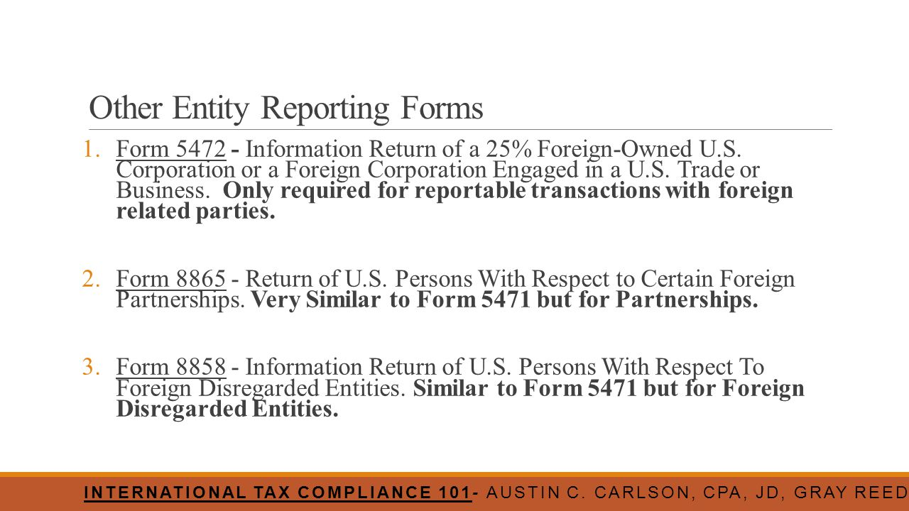 Other Entity Reporting Forms