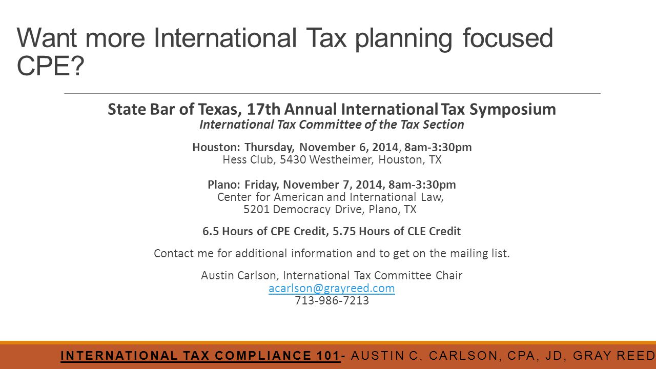 Want more International Tax planning focused CPE