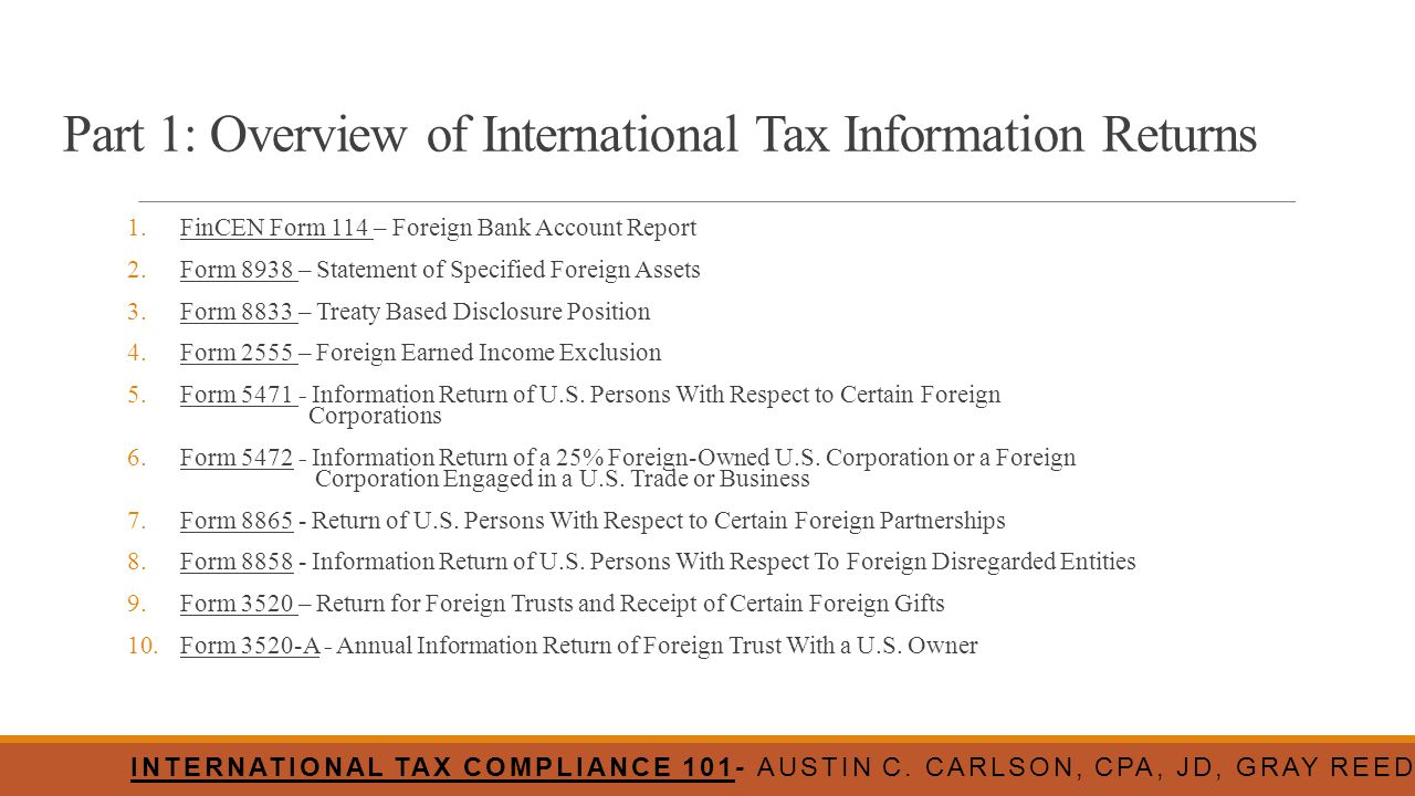 Part 1: Overview of International Tax Information Returns