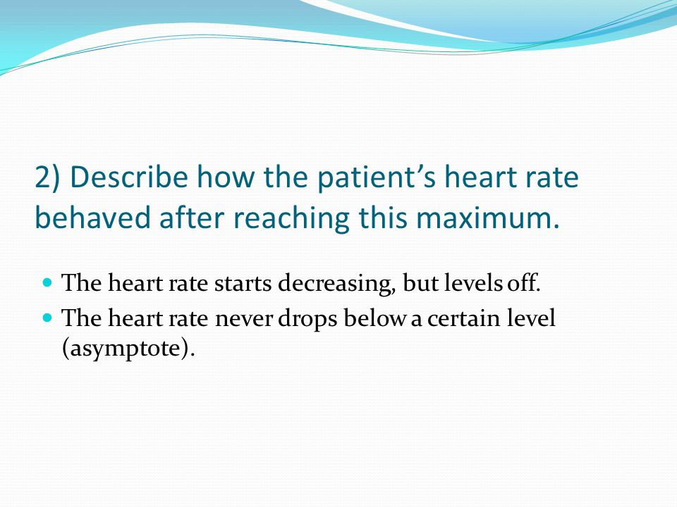 2) Describe how the patient's heart rate behaved after reaching this maximum.