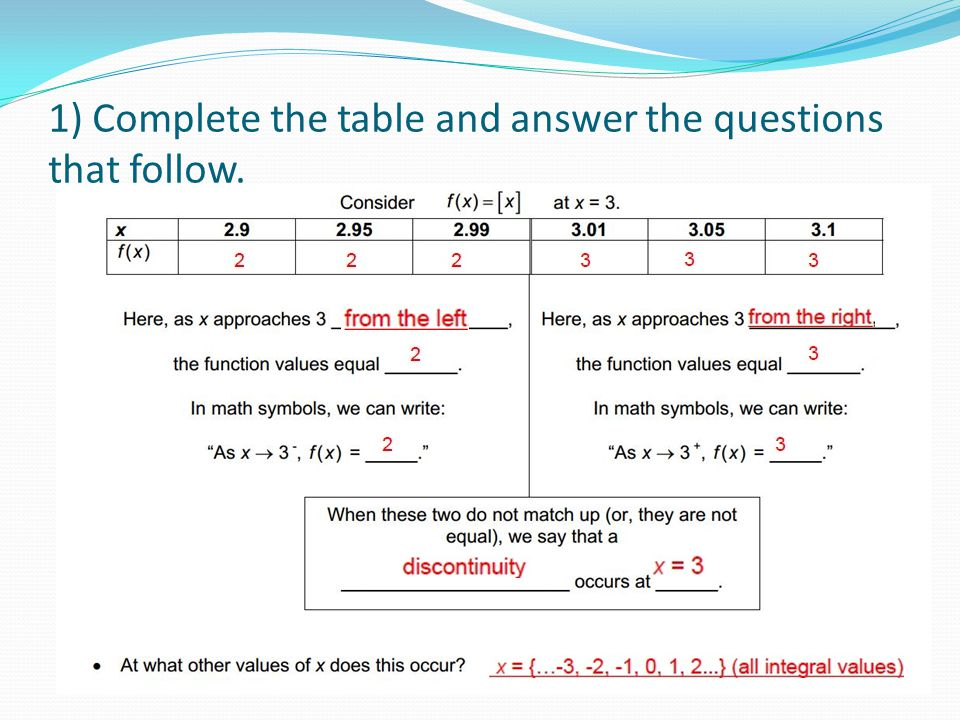 1) Complete the table and answer the questions that follow.