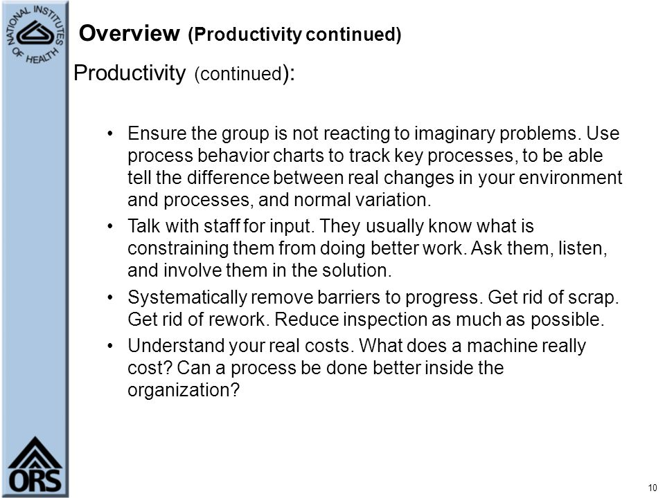 Overview (Productivity continued)