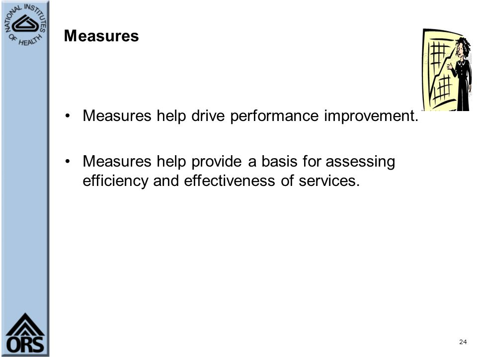 Measures Measures help drive performance improvement.