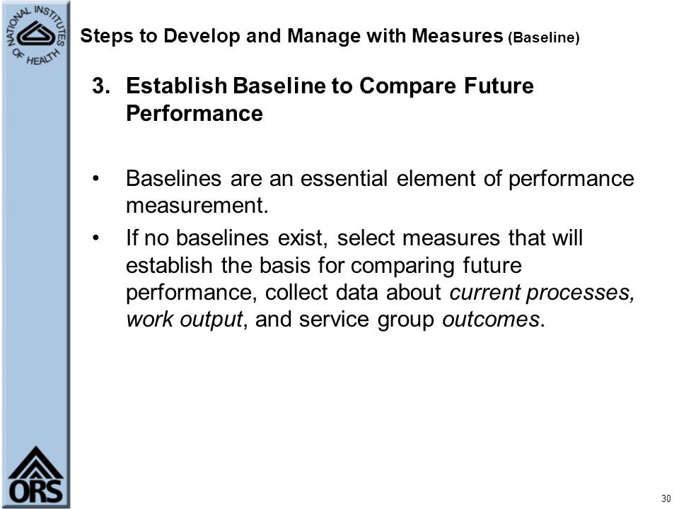 Steps to Develop and Manage with Measures (Baseline)