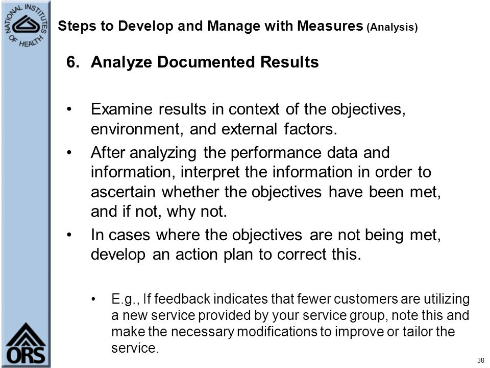 Steps to Develop and Manage with Measures (Analysis)