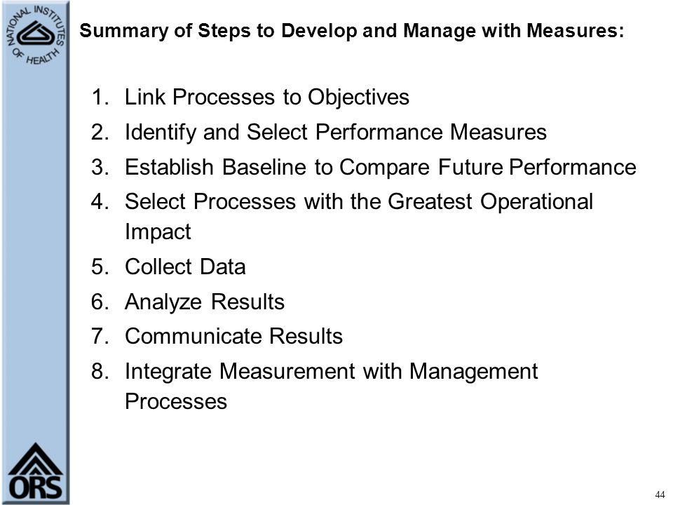 Summary of Steps to Develop and Manage with Measures: