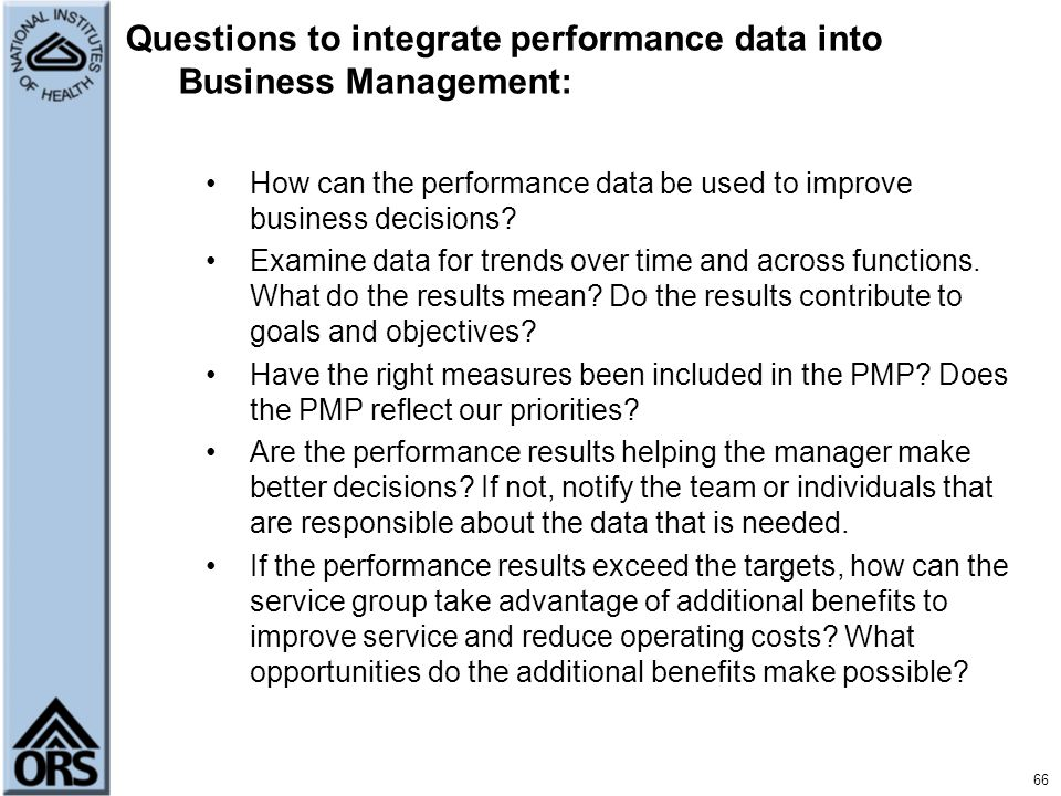 Questions to integrate performance data into Business Management: