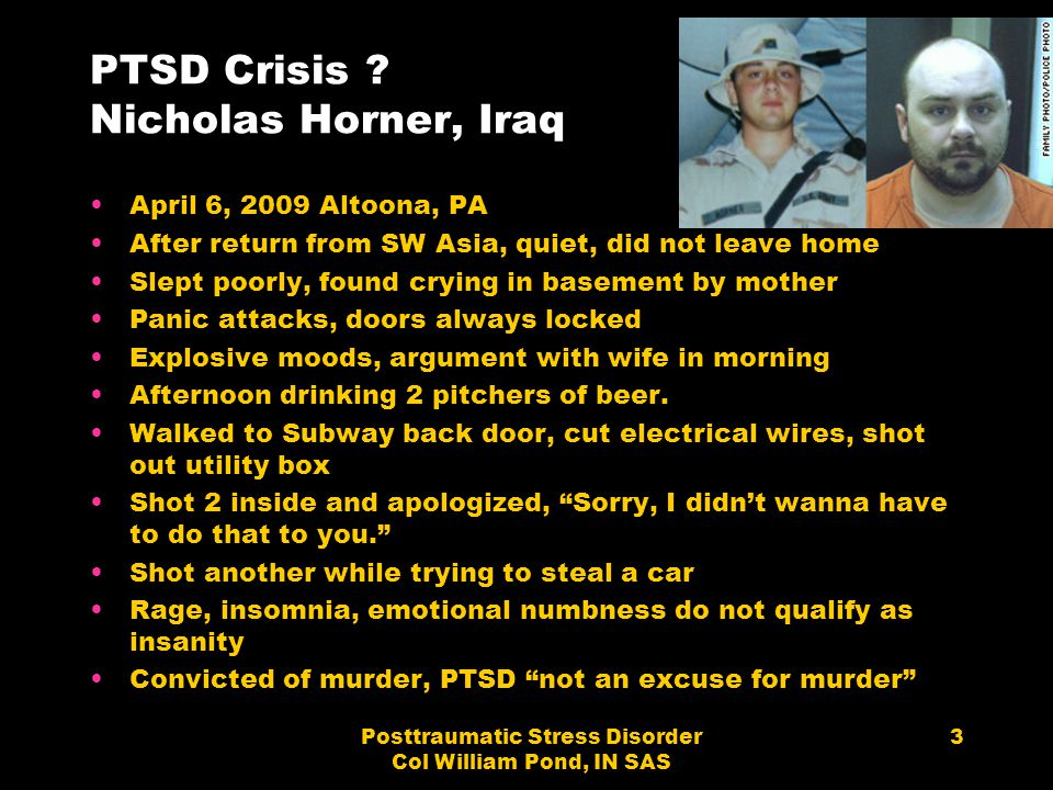 PTSD Crisis Nicholas Horner, Iraq