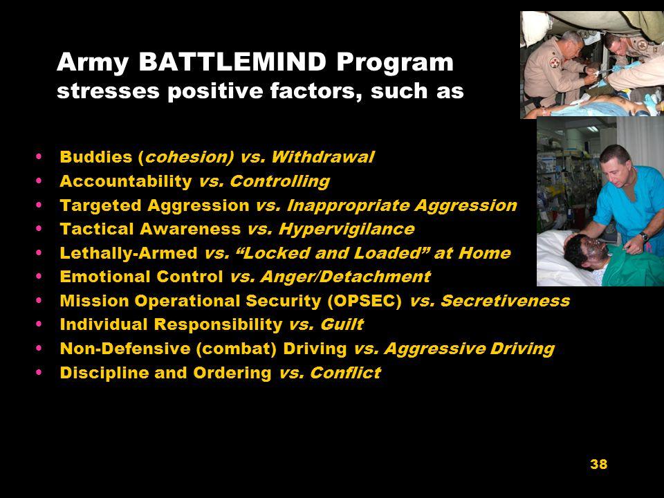 Army BATTLEMIND Program stresses positive factors, such as