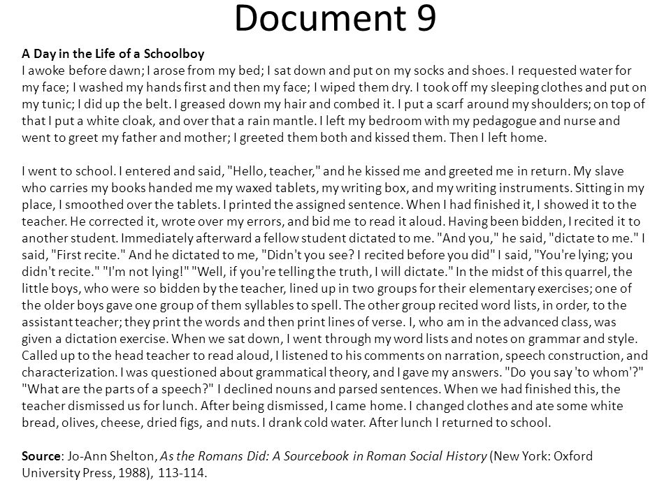Document 9 A Day in the Life of a Schoolboy