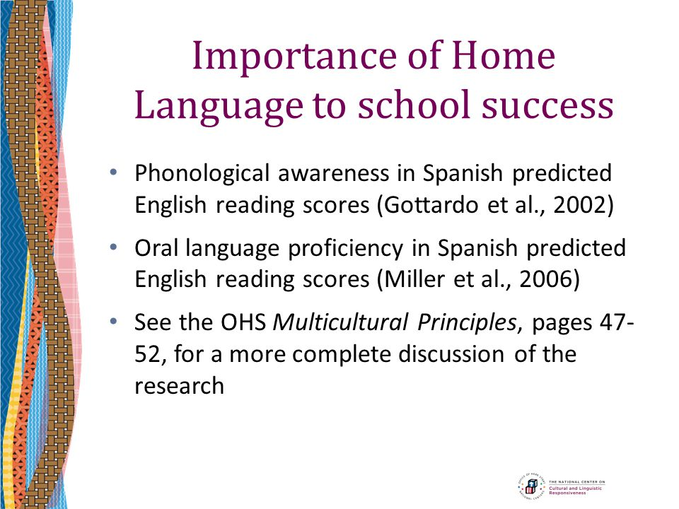 Importance of Home Language to school success