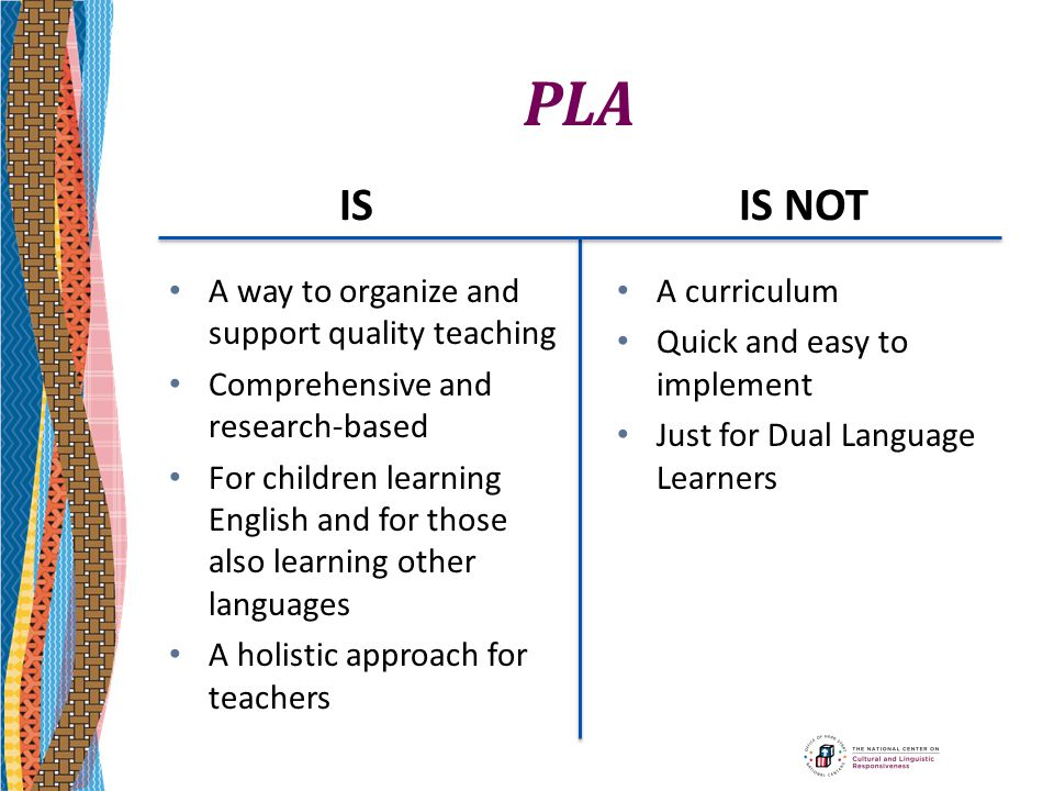PLA IS IS NOT A way to organize and support quality teaching