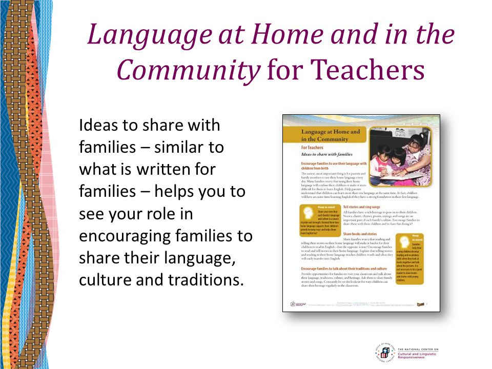Language at Home and in the Community for Teachers
