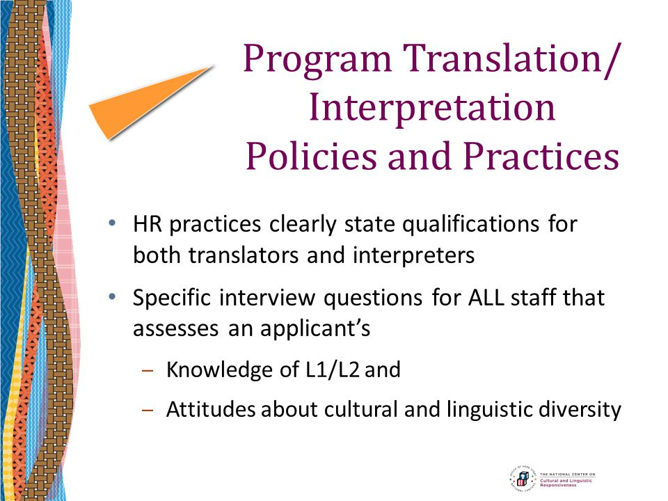 Program Translation/ Interpretation Policies and Practices