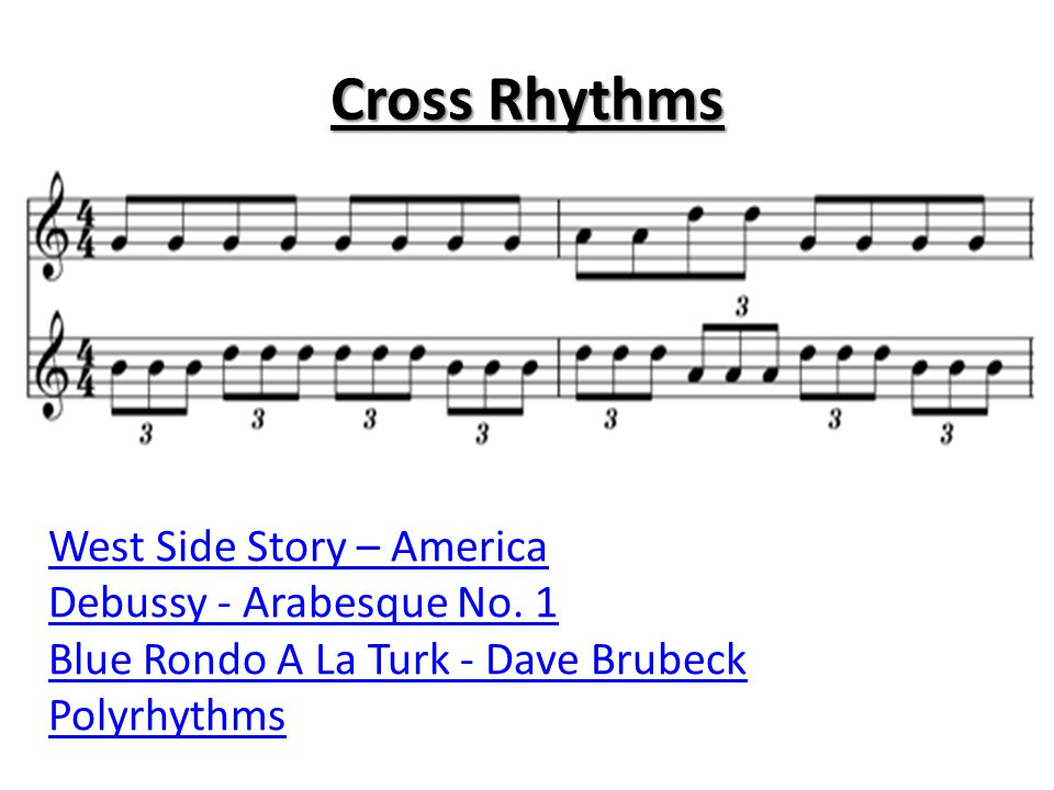 Cross Rhythms West Side Story – America Debussy - Arabesque No. 1