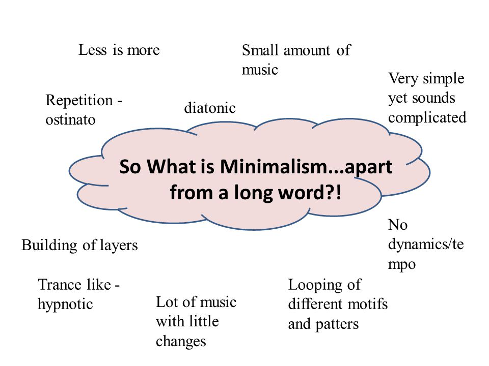 So What is Minimalism...apart from a long word !