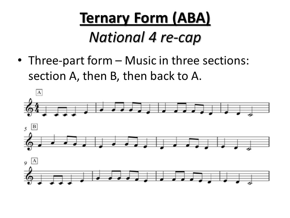 Ternary Form (ABA) National 4 re-cap