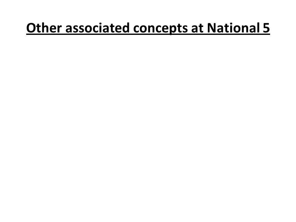 Other associated concepts at National 5