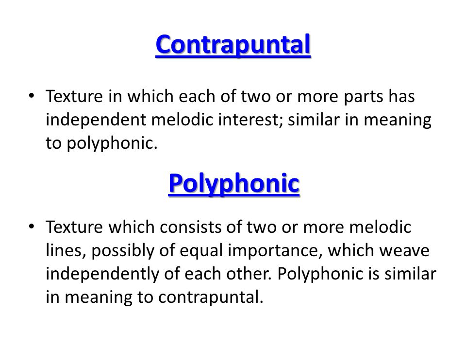 Contrapuntal Polyphonic
