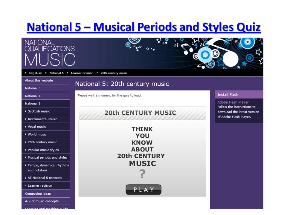 National 5 – Musical Periods and Styles Quiz