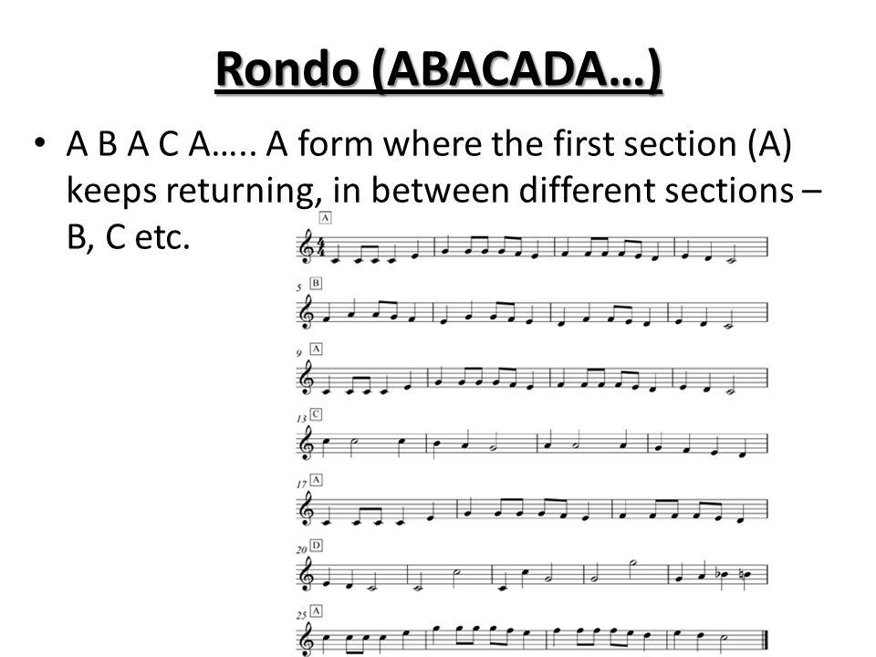 Rondo (ABACADA…) A B A C A…..
